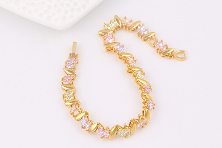 xuping costume jewels dubai gold jewelry rice shape multicolor zircon bracelets for women