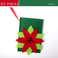 5inch new handmade non-woven fabrics hanging christmas tree ornaments card holder