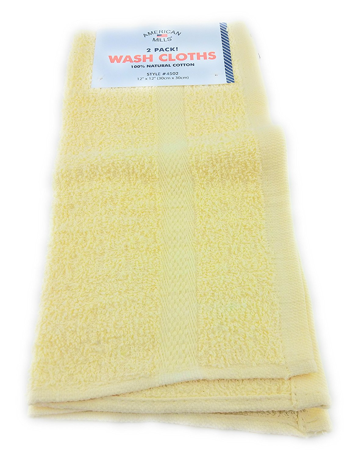 2 pack American Mills Deluxe Cotton Wash Cloth (Yellow)