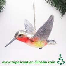 Hot selling top quality handblown glass hummingbird ornament for christmas indoor decoration