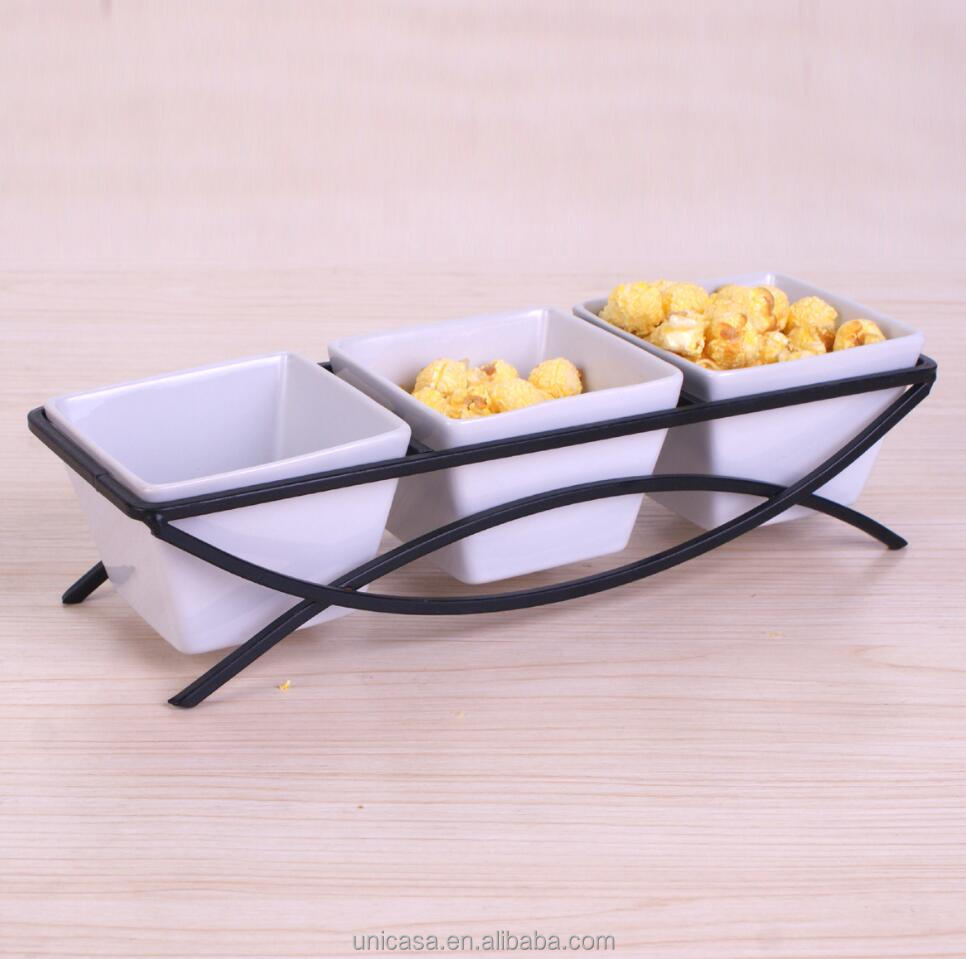 ceramic 4 pcs bowl set with metal stand