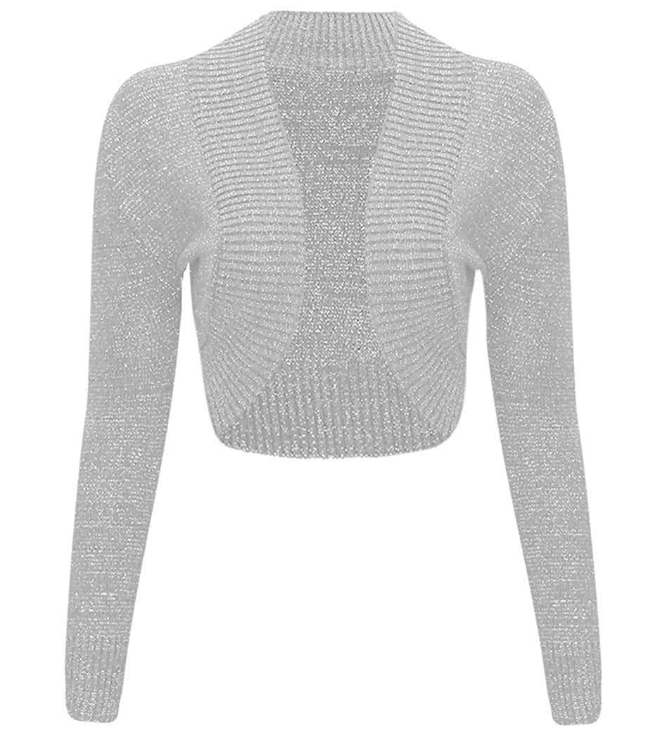 2d6609f4bff Get Quotations · Hi Fashionz Girls Ladies Women Christmas Long Sleeve  Knitted Metallic Lurex Shrug Cardigan Bolero Crop Top