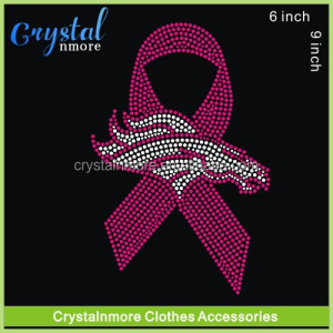 9e9f227b9f Breast Cancer Ribbon Iron On Transfer Rhinestone Broncos