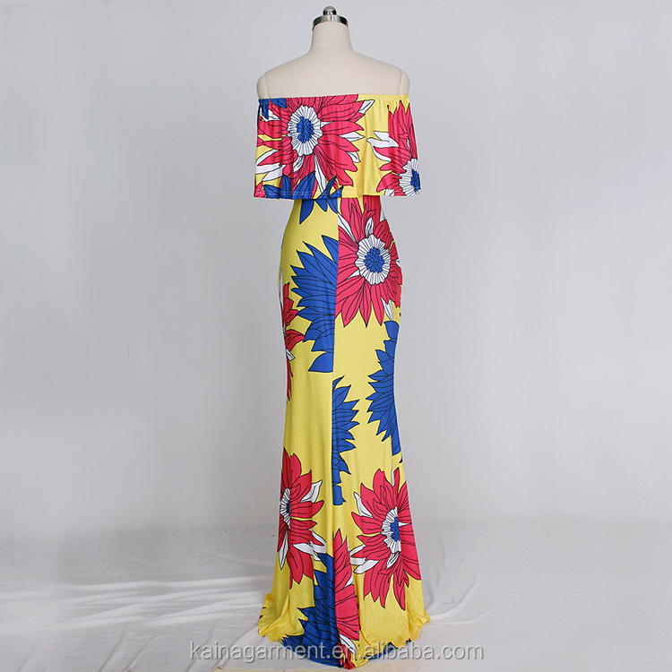 Neueste Indian Dinner Kleid Blume Design Falbala Maxi Afrikanischen ...