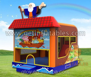 vinyl commercial 0.55mm pvc Inflatable Noah's ark bounce combo bouncy castle and Slide