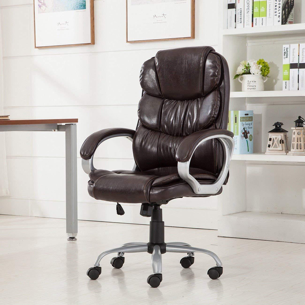 "GHP 24""x24""x43"" 330-Lbs Capacity Mocha PU Leather High Back Executive Office Chair"