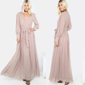 Casual khaki long sleeve dress V neck wrap dress flow gathered maxi dress
