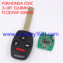 New Remote Car Key 3+1Button 313.8MHz ID46 Chip for Honda Accord CIVIC 2008-2012 FCC ID:N5F-S0084A