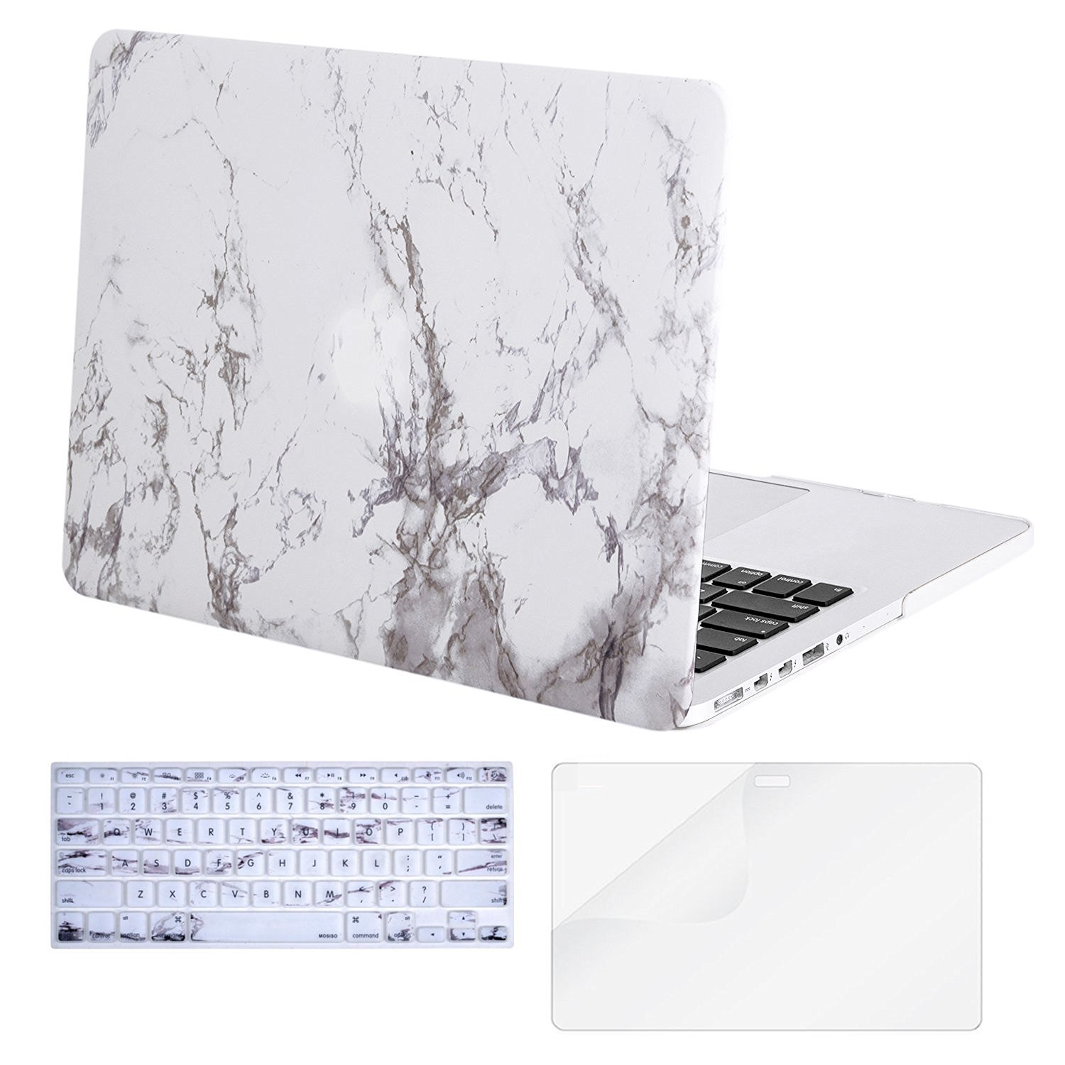 Mosiso Plastic Hard Case with Keyboard Cover with Screen Protector for Macbook Pro Retina 15 Inch (Model: A1398) No CD-ROM, Marble Pattern