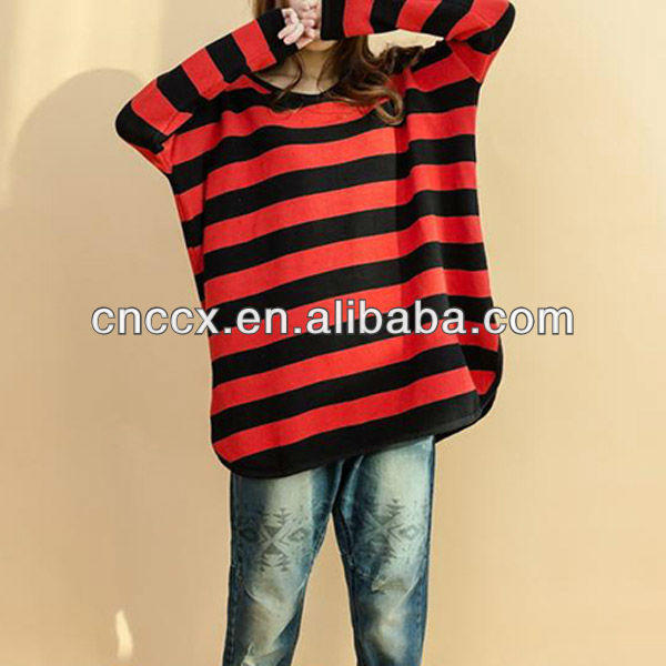 12STC0865 100% cotton ladies red black striped sweater