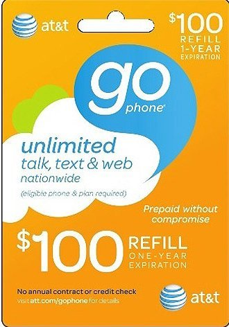 At&t Gophone $100 Prepaid Refill Top-up ATT Card (Mail delivery)