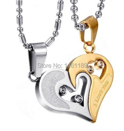 Couple Stainless Steel Necklace Sets I Love You Heart Shape Pendant  -with 21.3 inch Chain two