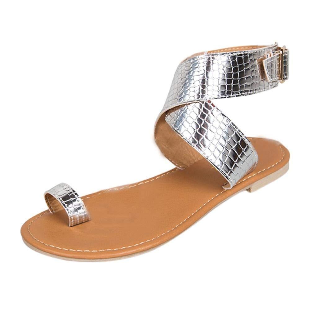 09285362a67350 Get Quotations · Gyoume Women Flat Shoes Basic Rome Sandals Shoes Strappy  Beach Sandals Shoes Platform Summer Shoes