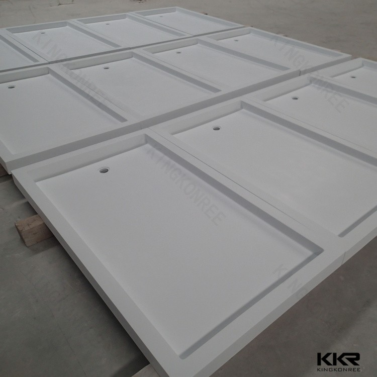 Custom Made Solid Surface Shower Tray White Marble Base