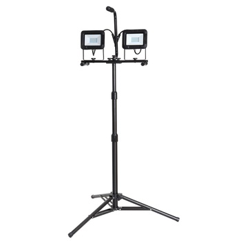 Twin-Head Adjustable LED Work Flood Light with Telescoping Tripod Stand