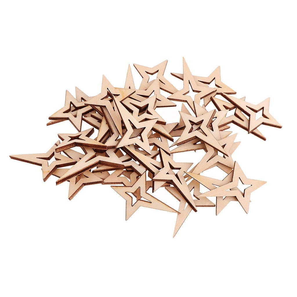 Baosity 40 Pieces Mini Unfinished Wood Hollow Star Shape Embellishments for Wedding Party Decoration DIY Craft 40x27mm
