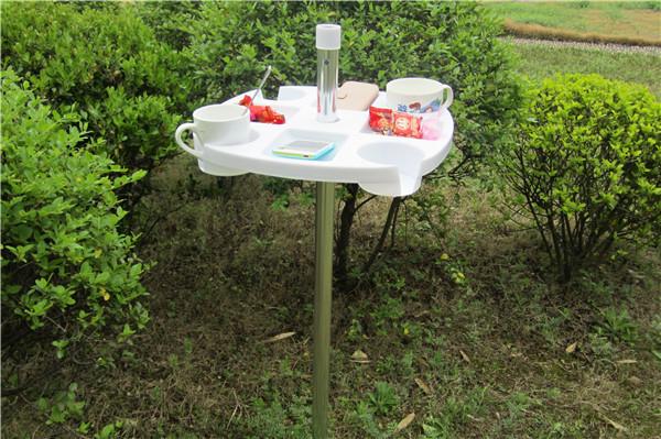 Drink Holder, Folding Portable Plastic Beach Umbrella Table