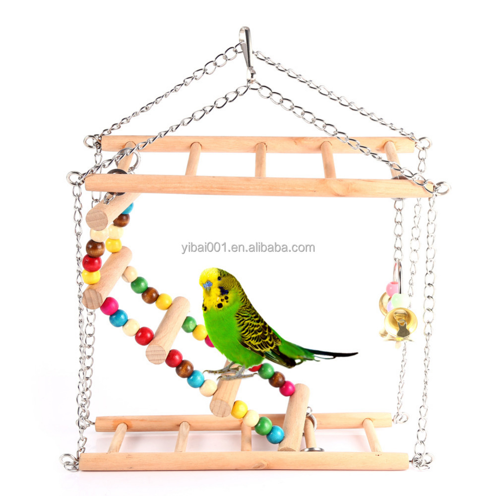 Pet Hanging Ladder Bridge Steps Stairs Climbing Swing Double-Layer Wood Hamster Parrot Cage Toy