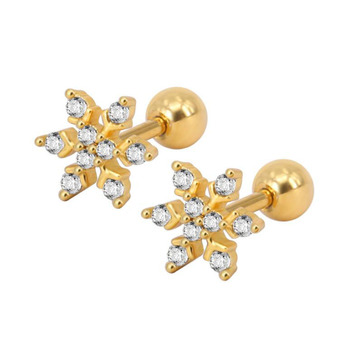951802f00 Stainless Steel Zircon Stud Earring 24K Plated Gold Snowflake Tragus  Piercing