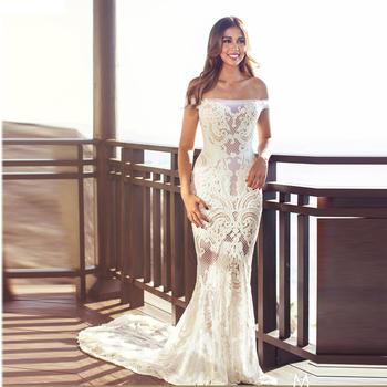 d3264c2d165 Off Shoulder Moroccan Wedding Dresses Mermaid Bridal Wear Lace Pattern  Ladies Robe de Mariage 2018