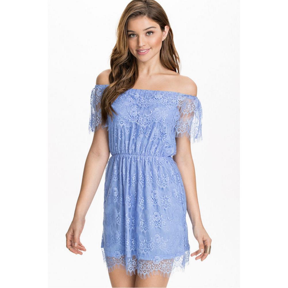 bdb9f2cc3cb Get Quotations · 2015 Summer New Fashion Women Sexy Casual Elegant Dress  Off Shoulder Blue Lace Dresses Slash neck