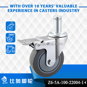 "Swivel Design Stem Non-Braking 4"" Swivel Caster with Lock for Bussing and Utility Carts"