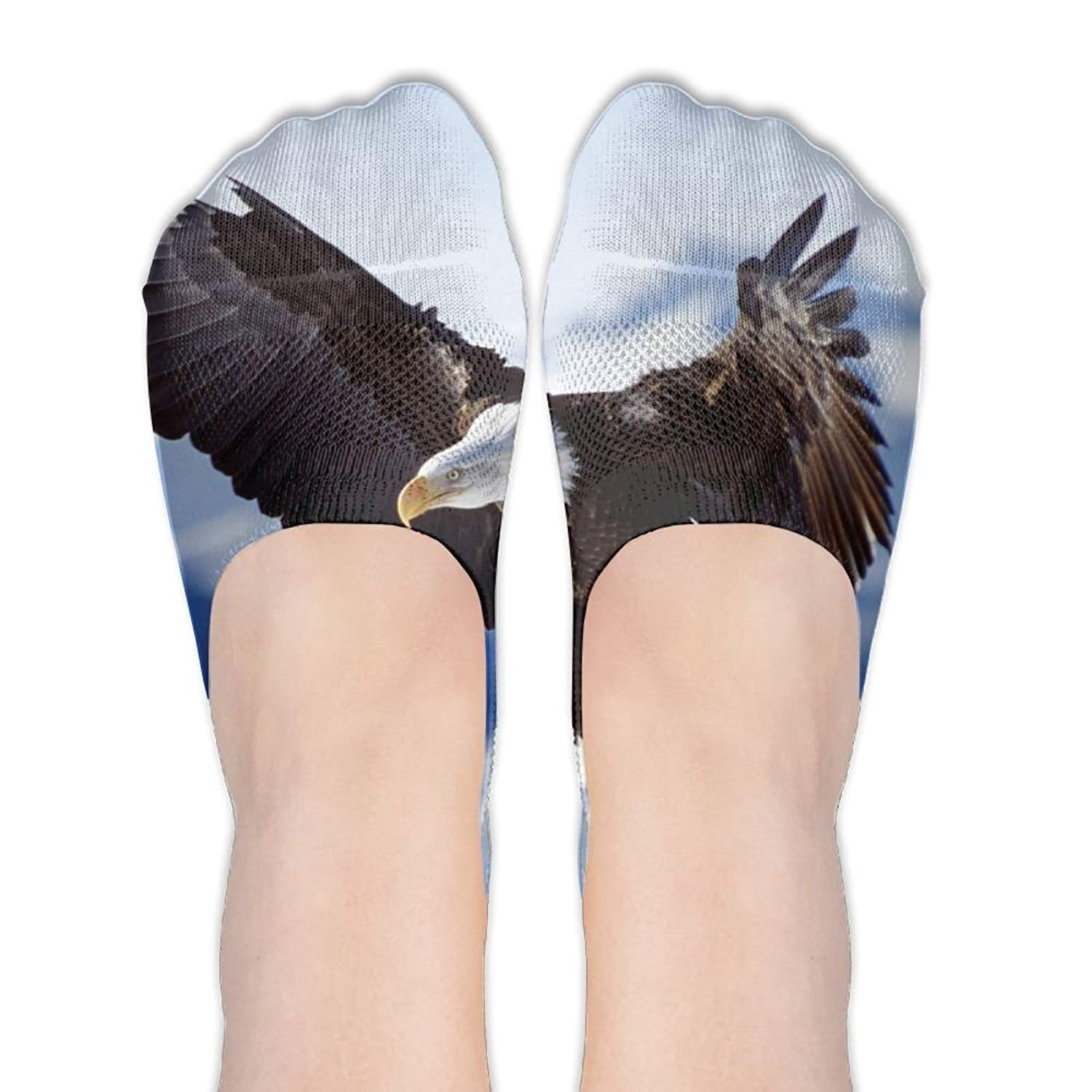 Bald Eagle Funny Pattern DIY Printed Pattern Soft Low Cut Socks No-show Liner Invisible Polyester Cotton Sock For Female (One Pair)