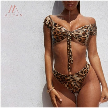 Wholesale 4 colors newest leopard print high waist off shoulder bandage bikini sexy two pieces swimwear