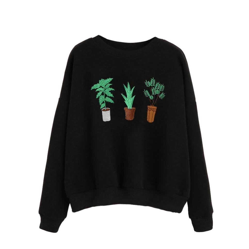Women's Hoodie,FUNIC Women Long Sleeve Green Plants Printed Casual Sweatshirt Pullover Tops Black (S, Black)