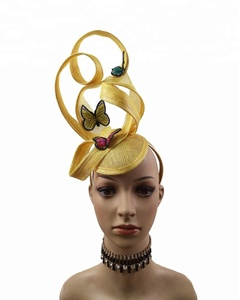 Embroidery Butterfly Ribbon Curl Exotic Sinamay Fascinator Headband Hats Derby Racing Hat Wedding Headwear Ascot Headpiece