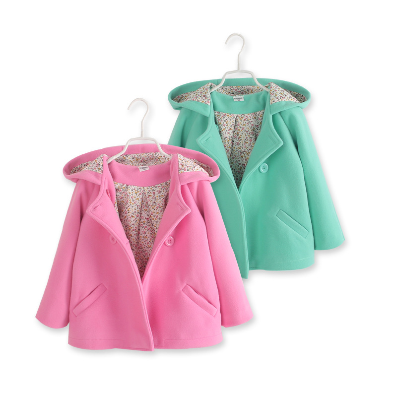 New girls in autumn and winter double-breasted trench coat, children wool coats, children's wear solid-colored casual coats