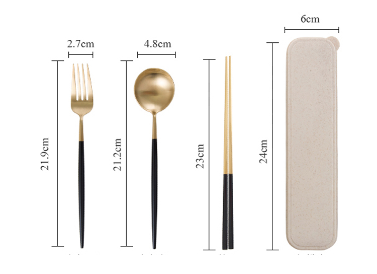 304 stainless steel students travel cutlery ,spoon chopstick portable cutlery sets with case