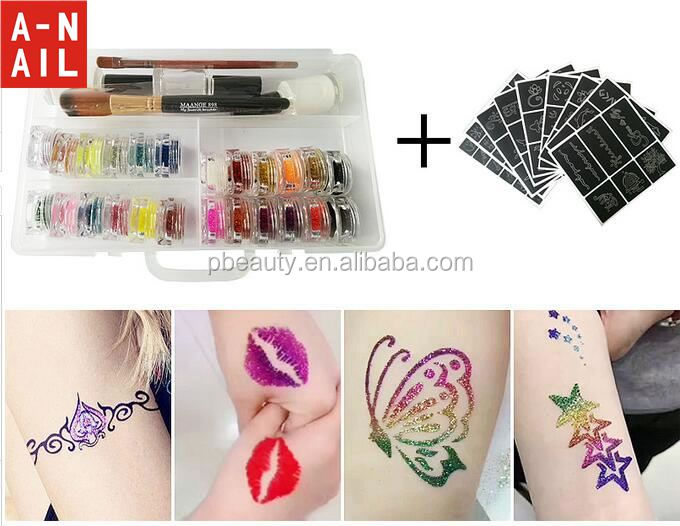 Hot Sale Party Fun Temporary Sparkle 30Colors Glitter Shimmer Powder Tattoo Body Art Paint Kit with Stencils, Glue and Brushes
