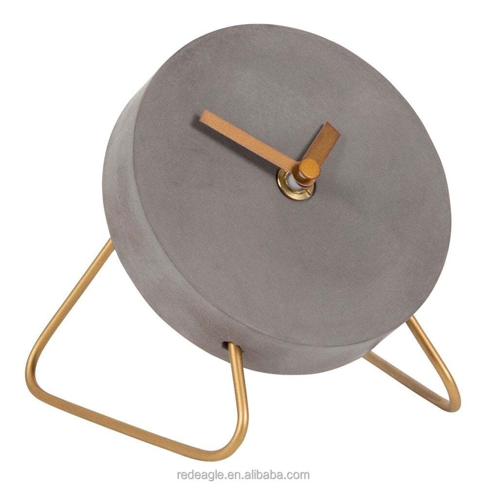 Concrete Mini Table Clock With White Gold Stand