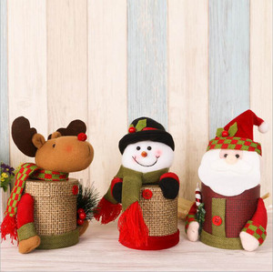 DM 639 Wholesale cute unique santa candy gift box Christmas decoration linen Christmas tin
