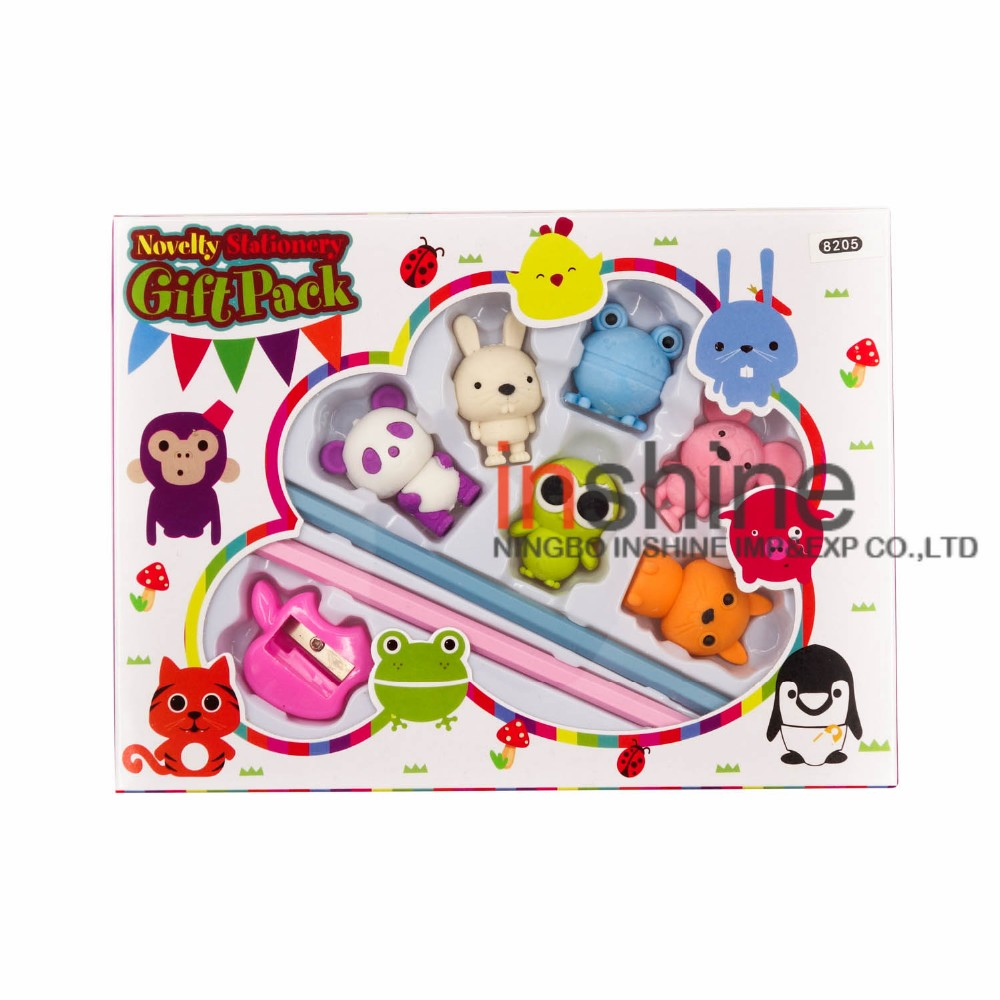 Multi choice animal shaped 3d pencil topper eraser