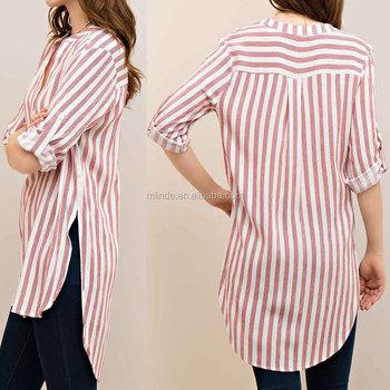 3d09f706e7 Dress Shirts Long Sleeve V NECK HIGH LOW TOP Women STRIPED Mandarin Collar  Bangladesh Shirts WITH