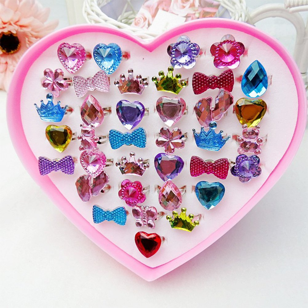 Loves Town 36 Pcs Children Kids Little Girls Princess Adjustable Jewelry Rings Value Set for Kids Birthday Party Supplies