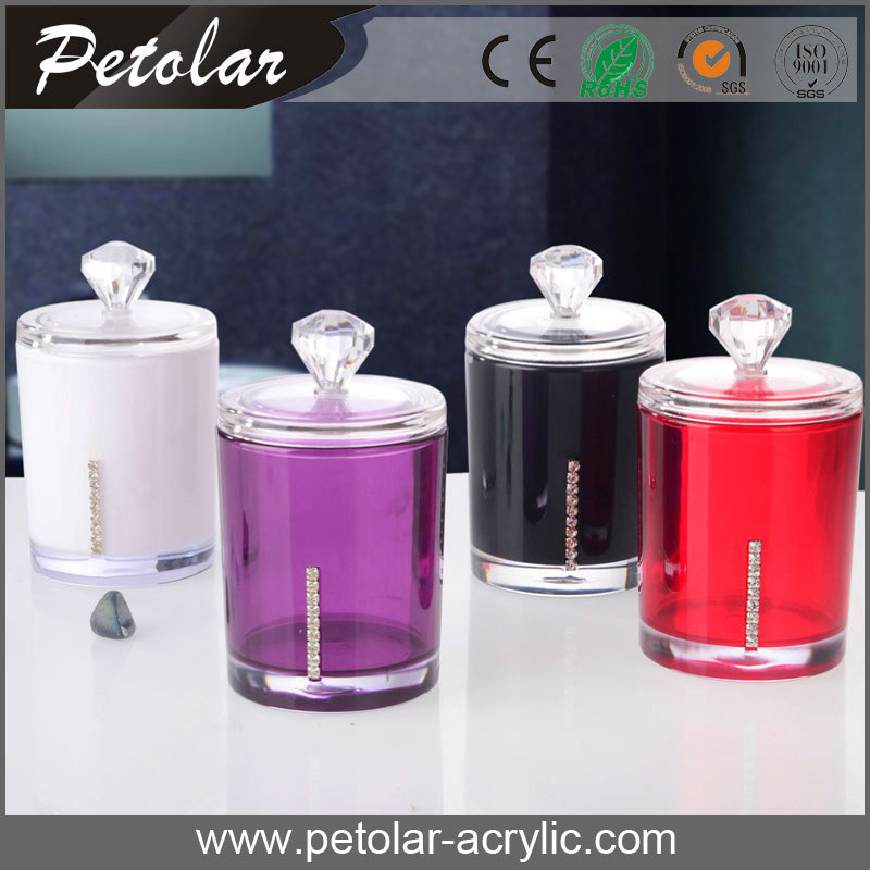 colorful round storage jar Acrylic Cotton Swab Holder