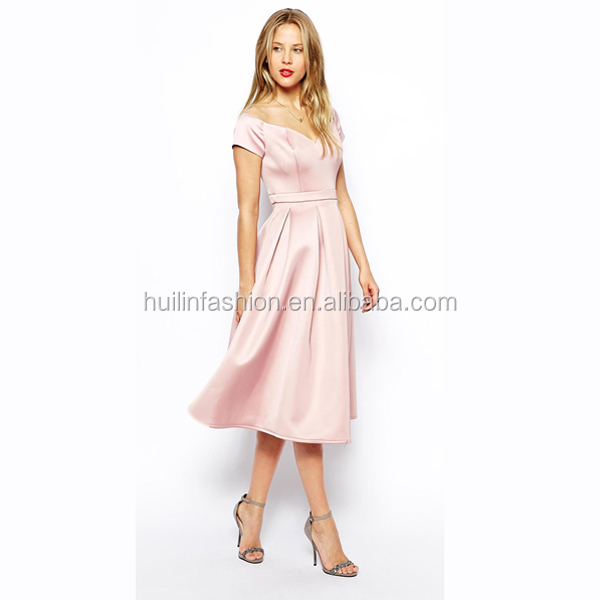 New Design Elegant Simple Style Midi Length Prom Dress