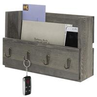 Gray Wood Wall Mounted Mail Holder Organizer with 4 Key Hooks wholesale