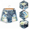 Cheap custom printed girl children casual embroidered jeans shorts with frayed hem