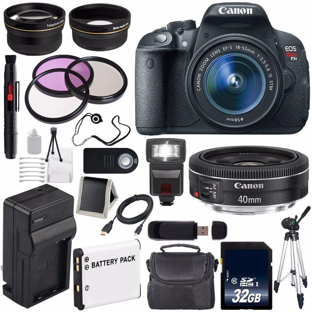 Canon EOS Rebel T5i 18 MP CMOS Digital SLR Camera w/EF-S 18-55mm f/3.5-5.6 Lens (International Model no Warranty) + Canon EF 40mm f/2.8 STM Lens + 58mm 2x Telephoto Lens 6AVE Bundle 44