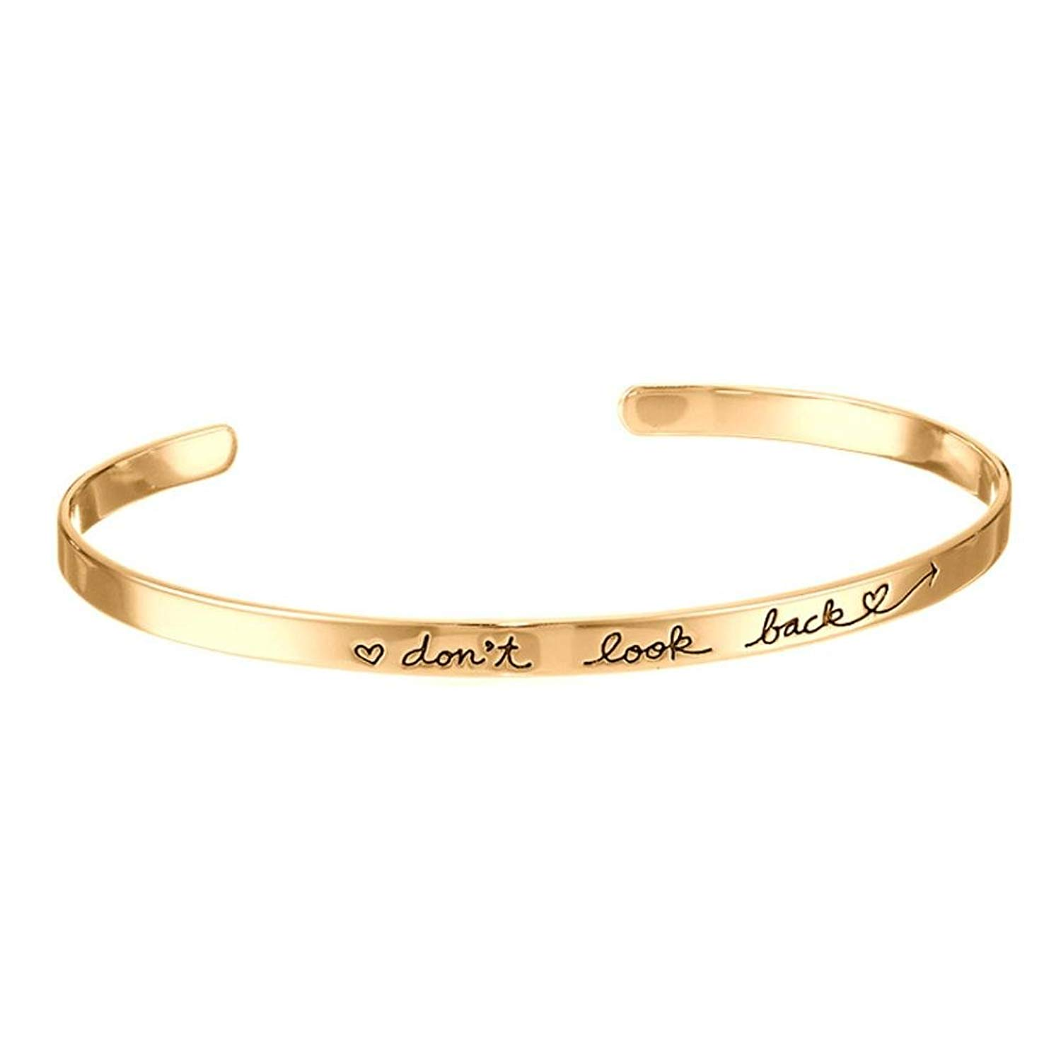JSPOYOU Promotions! Womens Elegant Simple Cuff Bangle Jewelry Letter Bracelet By