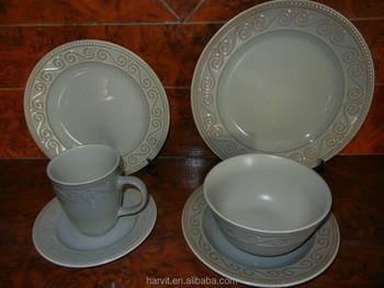 Weiß Relief Steinzeug Abendessen Sets/frankreich Stil Geschirr Mit ...