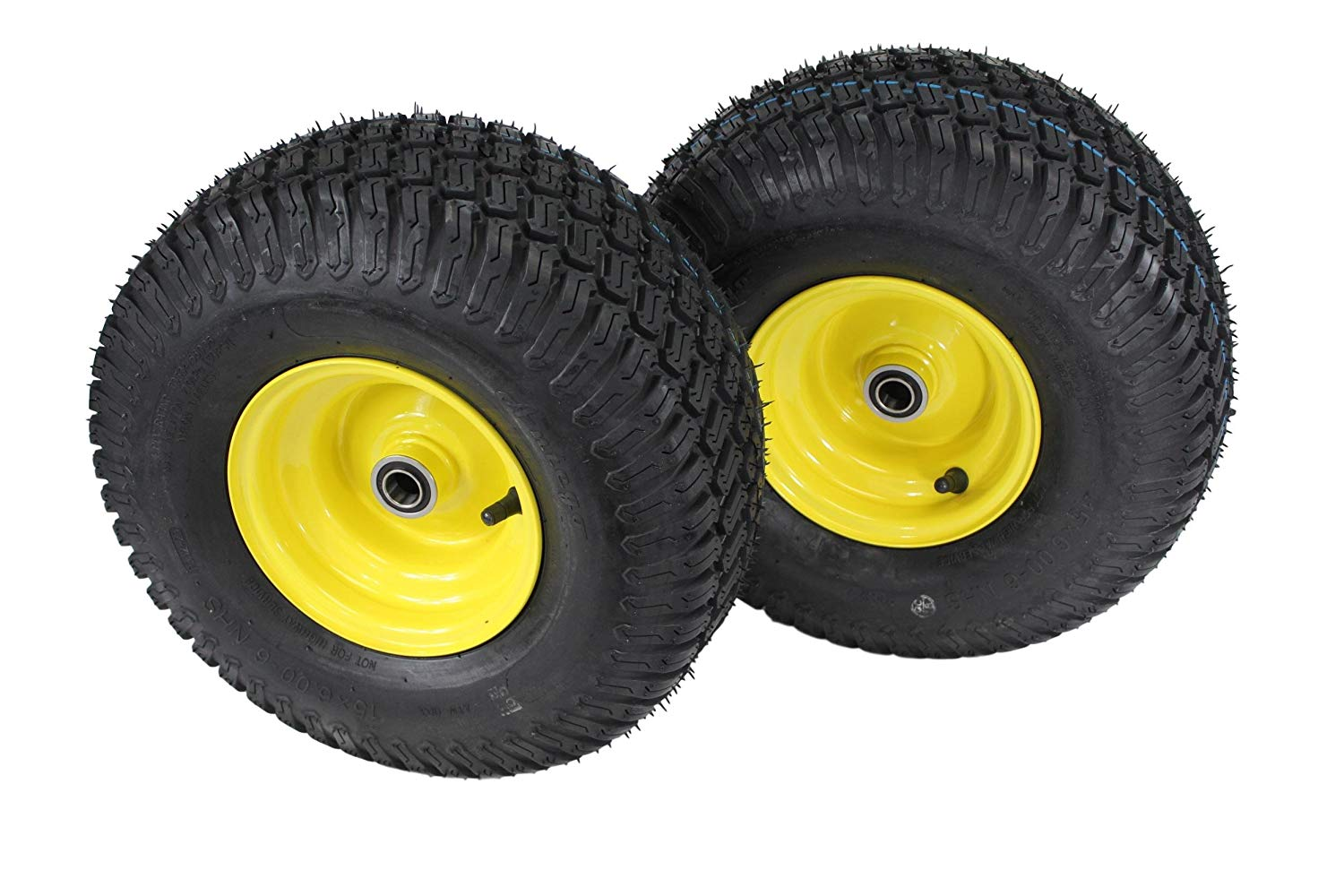 """(Set of 2) 15x6.00-6 Tires & Wheels 4 Ply for Lawn & Garden Mower Turf Tires .75"""" Bearing ATW-003"""