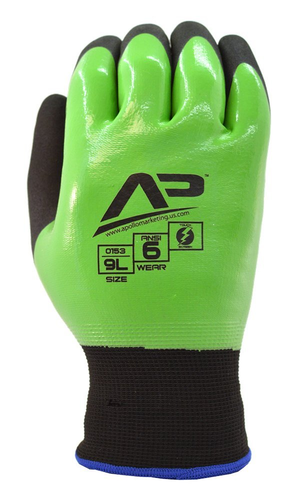 Apollo Performance Work Gloves 154, Tool Grabber Liquid Proof Multi-Task Glove, 15 Gauge Nylon/Lycra Knit, Fully Coated in Smooth Nitrile, Abrasion protection, Touch Screen Capabilities with Lightning Touch Technology, 1 Pair, X-Large, Green/Black