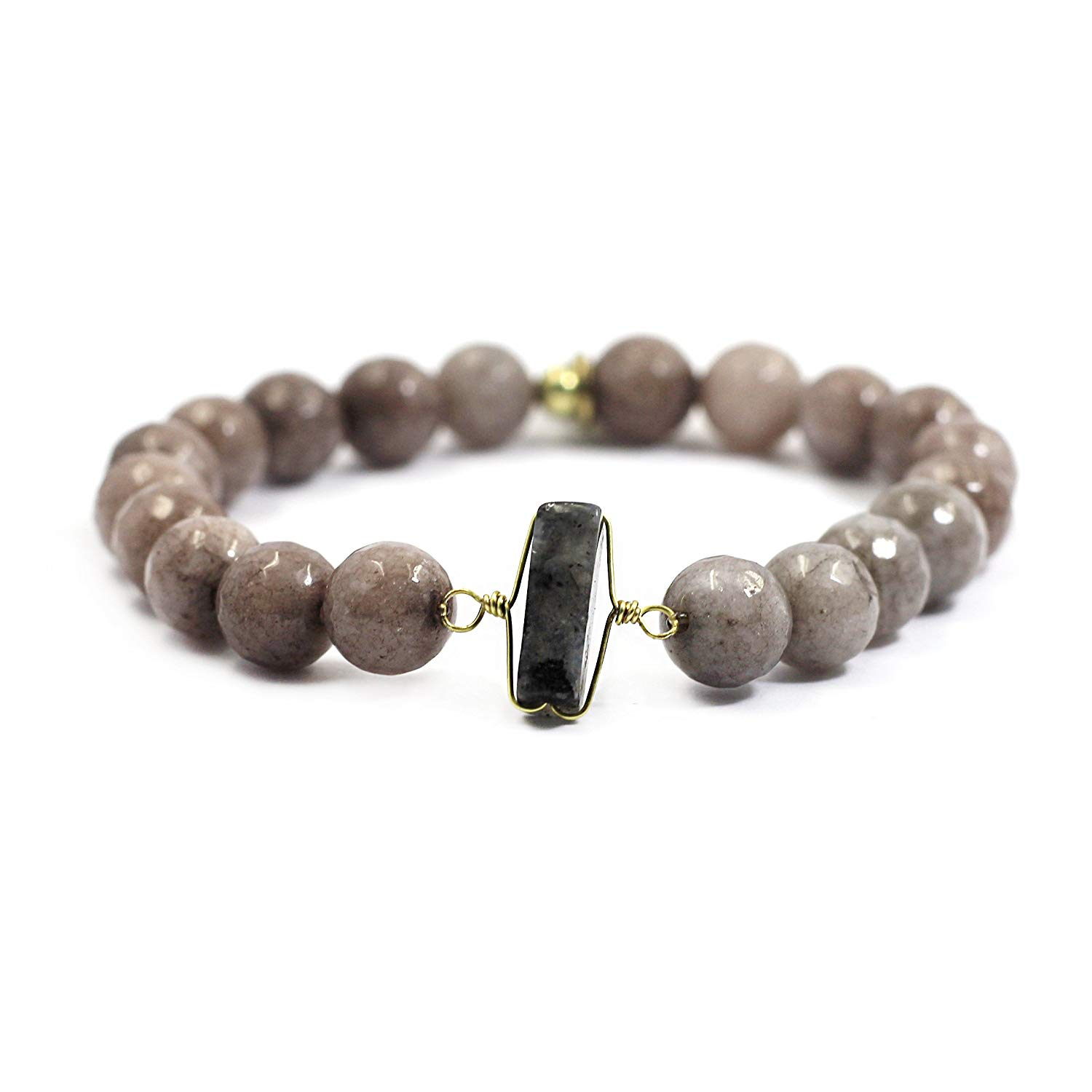 tom+alice Natural Gemstone 8MM Healing Beads Reiki Chakra Stretch Beaded Bracelets with Middle Ornament Womens Fashion (Naked-Gray Gold)