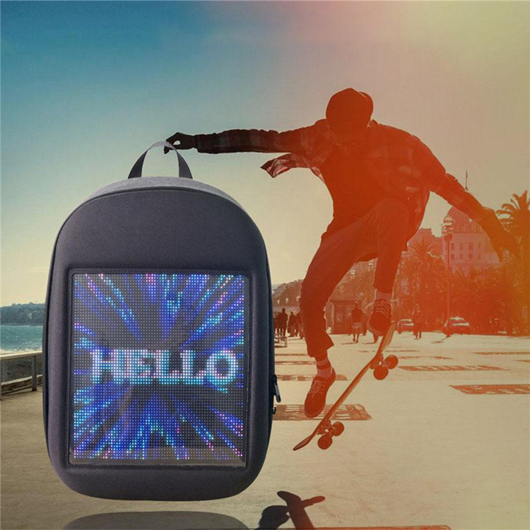 Newest LED Portable Travel Padded Cyclist/Bicycle Laptop Backpack Personality DIY LED Screen Dynamic Advertising Backpack