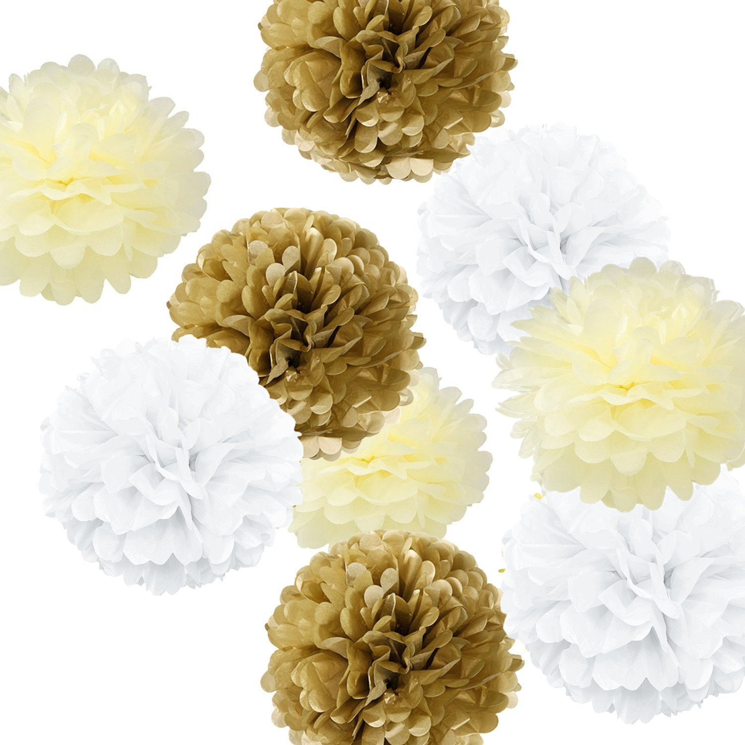 Fonder Mols 9pcs Mixed Sizes 8'' 10'' 14'' White Ivory Tan Party Tissue Pom Poms Kit Paper Flowers Set Ball Weddings Birthday Bridal Baby Showers Nursery Décor